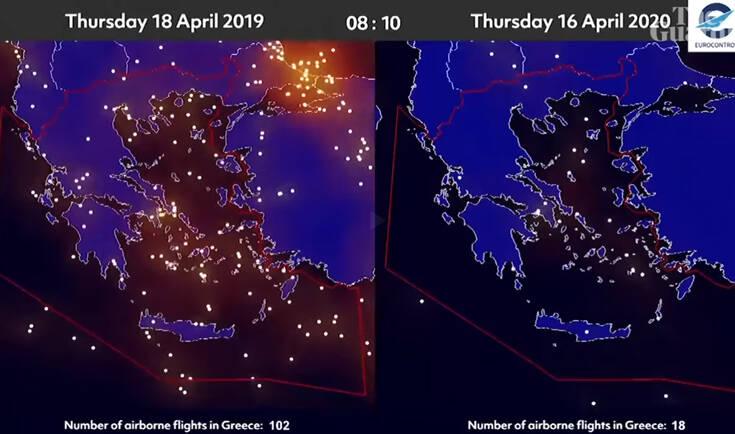 Άδειασε ο ουρανός της Ευρώπης – Πριν και μετά (vid)