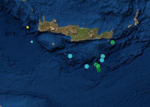 Σεισμός 4,9 Ρίχτερ νότια της Ιεράπετρας