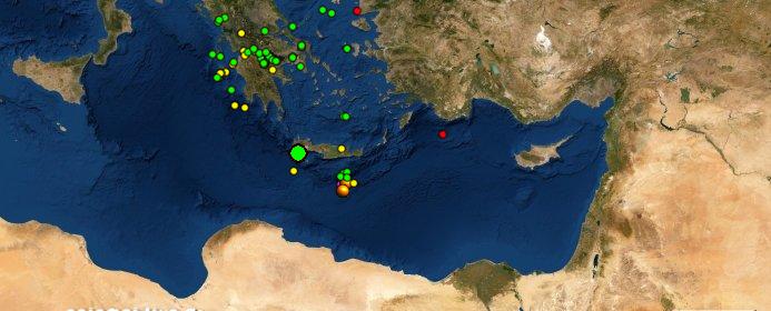 Μετασεισμός από την περιοχή των 6 Ρίχτερ στην Κρήτη