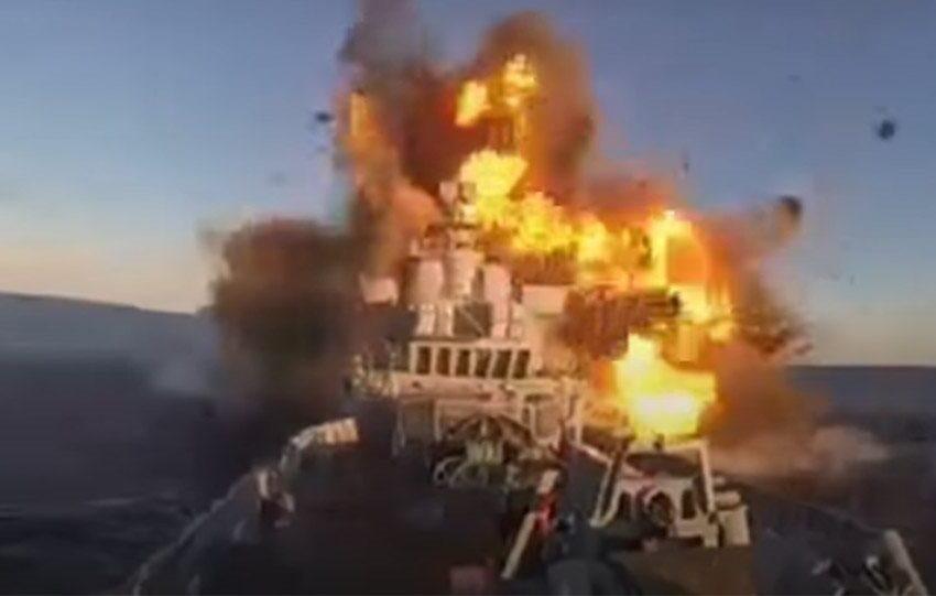 Τρομακτικό βίντεο: Πύραυλος χτυπά  και βυθίζει ιρανικό πλοίο