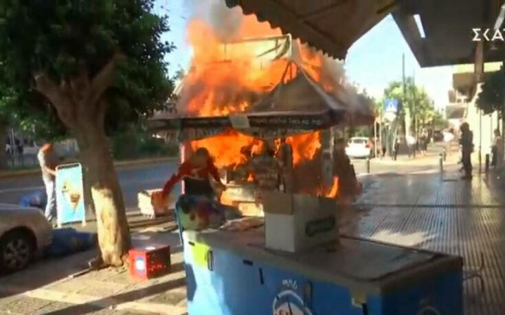 Φωτιά σε περίπτερο στην Καλλιθέα