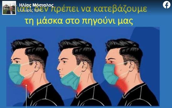 Ο Ηλίας Μόσιαλος εξηγεί γιατί δεν πρέπει να κατεβάζουμε τη μάσκα στο πιγούνι (εικόνα)