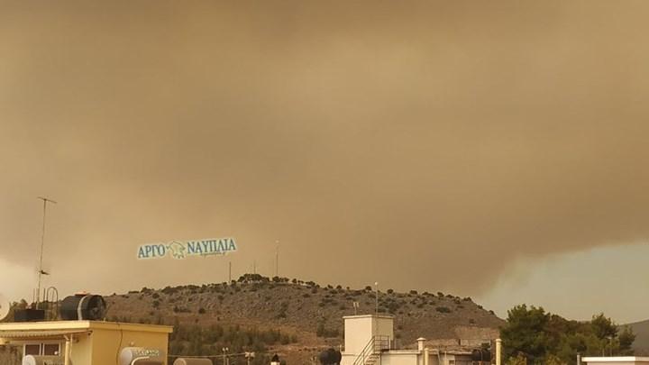 Φωτιά στις Κεχριές: Ο καπνός έφθασε στο Ναύπλιο (εικόνες)