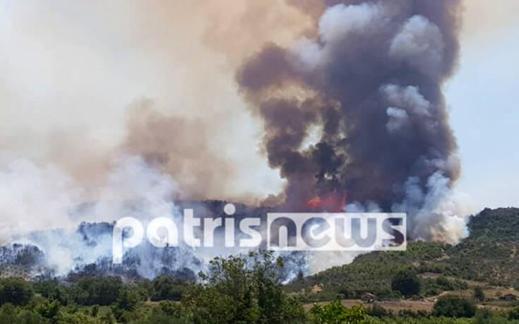 Φωτιά στον Ηλεία: Επιδεινώνεται η κατάσταση, ενισχύονται οι δυνάμεις (vid)