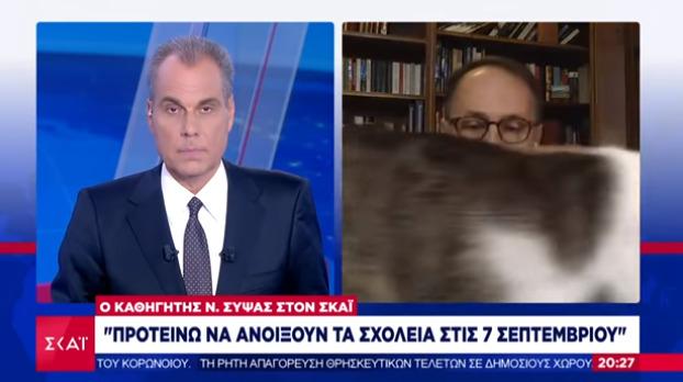 Απρόοπτο on air: Η γάτα του καθηγητή Σύψα σε πρώτο πλάνο (vid)