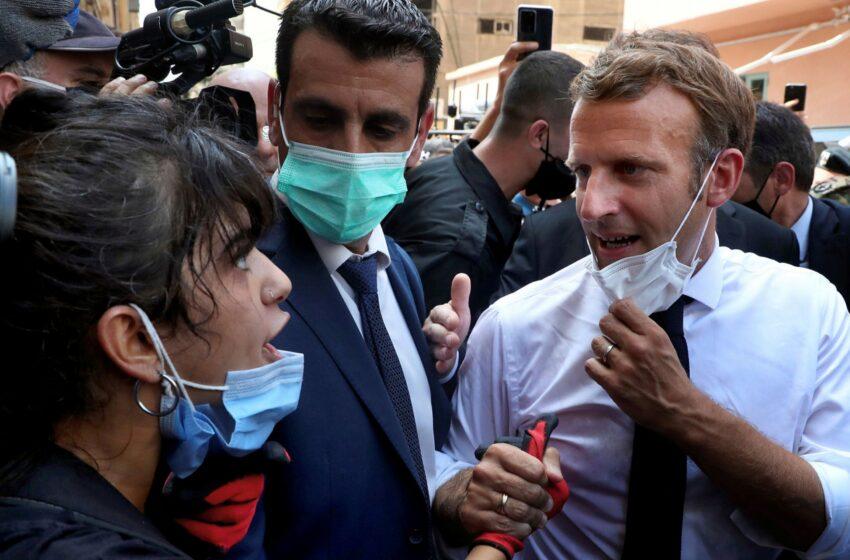 Βηρυτός: Η οργή ξεχειλίζει – Η στιγμή που λιβανέζα διαδηλώτρια φωνάζει στον Μακρόν (vid)