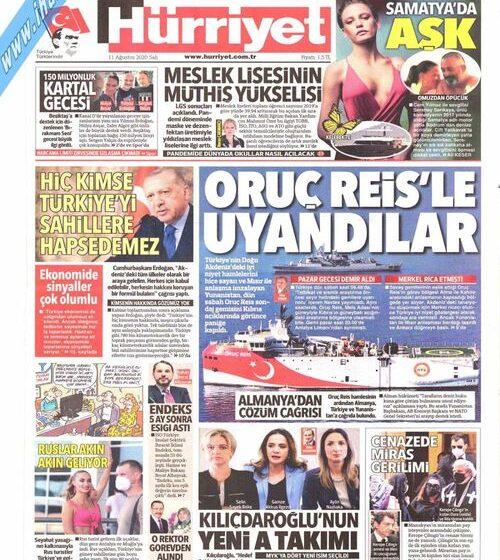 """Για """"πορεία 6 μηνών"""" του Oruc Reis μιλά ο τουρκικός τύπος σε ρυθμούς προπαγάνδας"""
