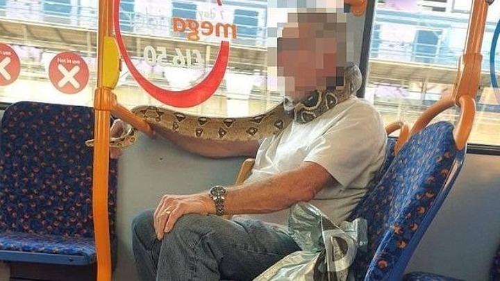 Απίθανο: Χρησιμοποίησε για μάσκα προσώπου ένα τεράστιο φίδι και μπήκε στο λεωφορείο!