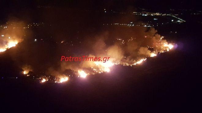 Πάτρα: Ολονύχτια μάχη με τις φλόγες