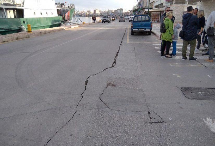 Χίος: Μεγάλη ρωγμή στην Προκυμαία προκάλεσε ο ισχυρός σεισμός (vid)