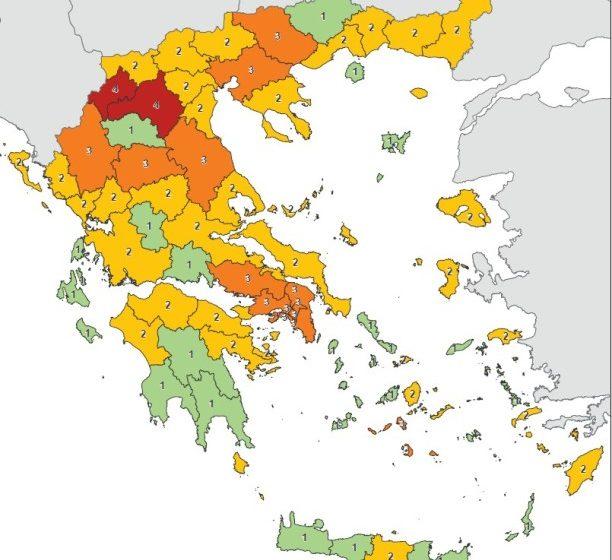 Ο Χάρτης του κοροναϊού στην Ελλάδα – Οι 2 περιοχές στο κόκκινο και οι 14 στο πορτοκαλί (γράφημα)