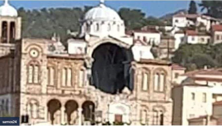 Μεγάλες ζημιές στη Σάμο – Κατέρρευσε τμήμα ναού στο Καρλόβασι (vid)