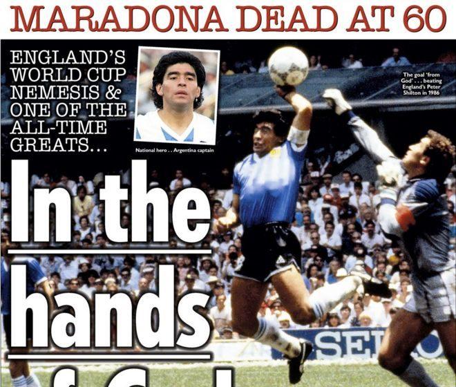 """""""Το χέρι του Θεού"""" εξακολουθεί να ενοχλεί- Τα πρωτοσέλιδα των αγγλικών εφημερίδων για τον Μαραντόνα"""