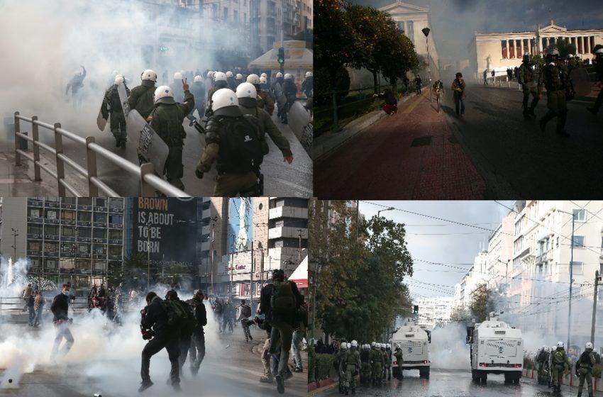 Επεισόδια ΤΩΡΑ: Τρία μέτωπα διαδηλωτών – αστυνομικών