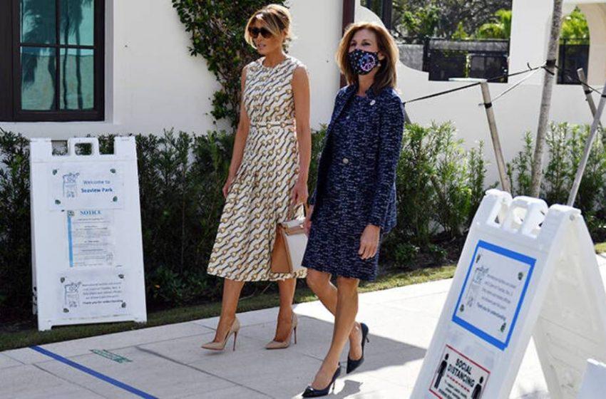 Mελάνια Τραμπ: Χωρίς μάσκα και με φόρεμα 4.500 δολαρίων  στην Φλόριντα (pics,video)