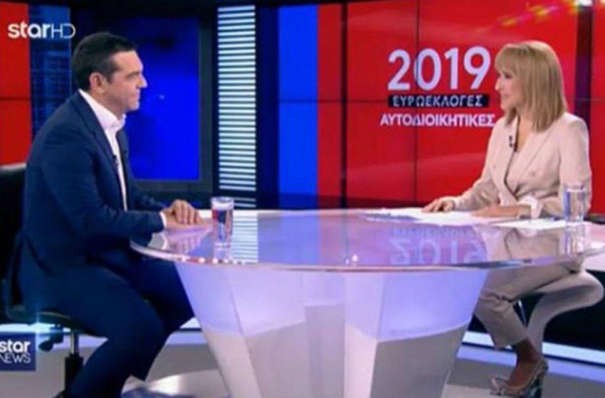 O Αλ. Τσίπρας στο δελτίο ειδήσεων του Star με την Μάρα Ζαχαρέα