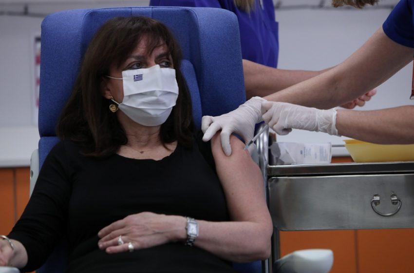 Εμβολιάστηκε η Πρόεδρος της Δημοκρατίας, Κατερίνα Σακελλαροπούλου (vid.,pics)