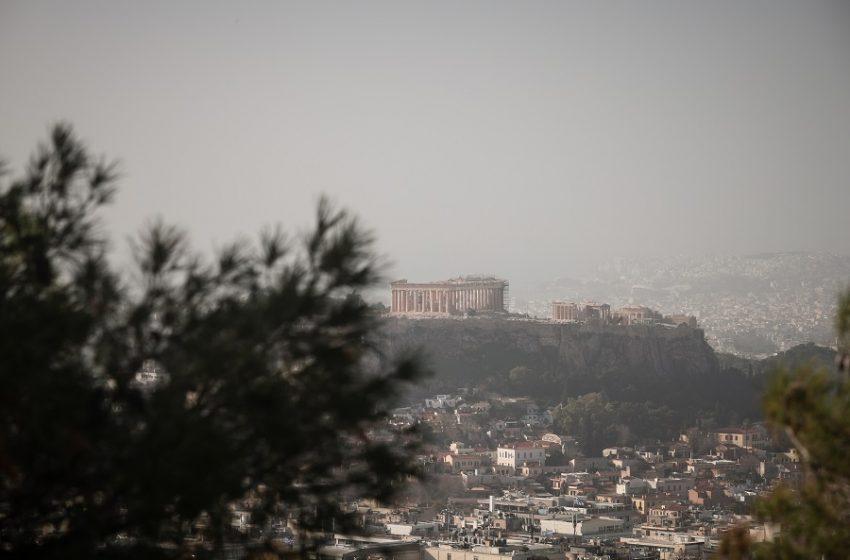 """""""Πνίγηκε"""" το κέντρο της Αθήνας – Κοκτέιλ σκόνης – νοτιάδων"""