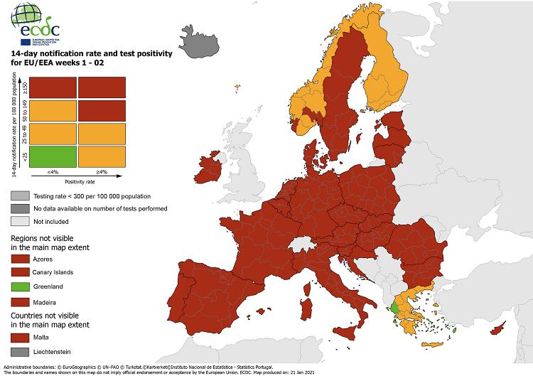 """ECDC: """"Πράσινη"""" η Ελλάδα στον χάρτη θετικότητας του κοροναϊού"""