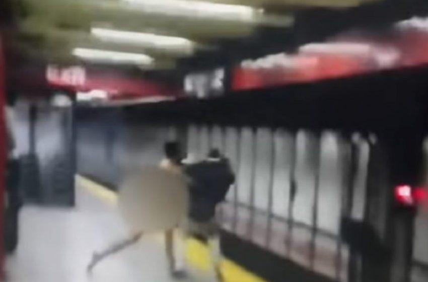 Σε κατάσταση αμόκ γυμνός άνδρας πέταξε επιβάτη στις ράγες του Μετρό στη Νέα Υόρκη (vid)