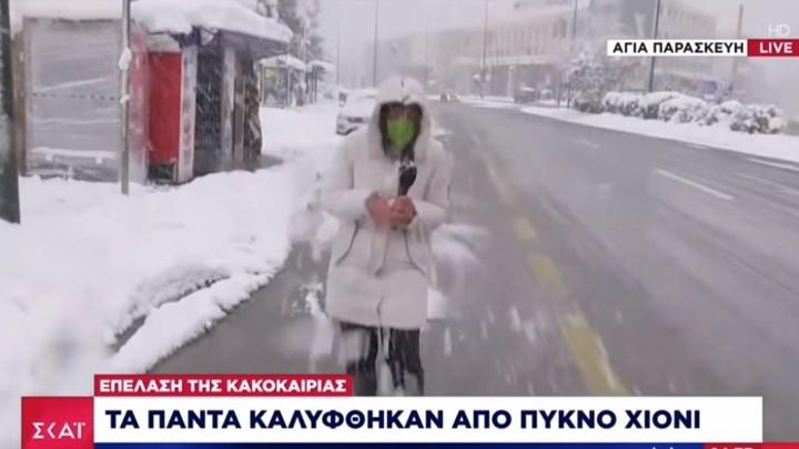 Δημοσιογράφος στη μέση… χιονοπόλεμου (vid)