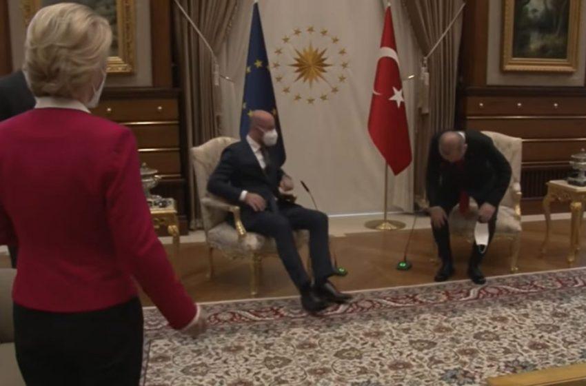 """Η κίνηση του Ερντογάν που άφησε """"άγαλμα"""" την Φον Ντερ Λάιεν (vid)"""