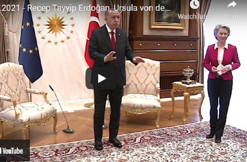 Σάλος με τον Ερντογάν: Το βίντεο που δείχνει την πρ. της Κομισιόν να στέκεται όρθια επειδή δεν είχε καρέκλα (vid)