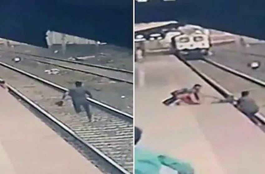 Συγκλονιστικό βίντεο: Έτρεχε στις γραμμές του τρένου για να σώσει το παιδί (vid)