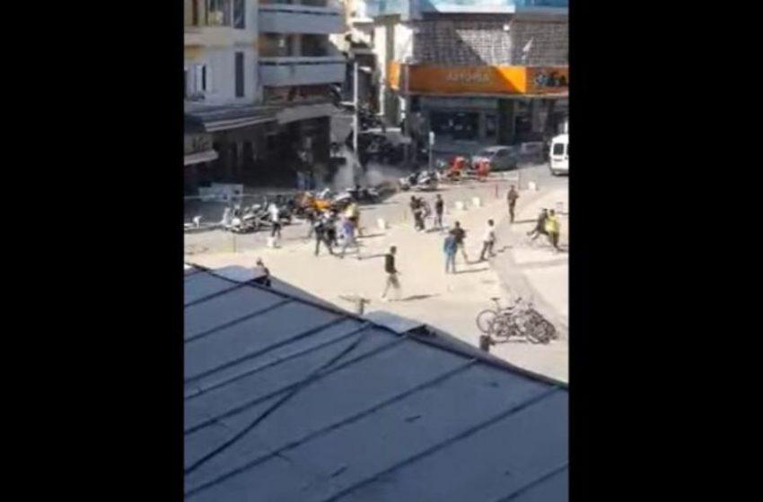 Άγριες συμπλοκές στο κέντρο του Ηρακλείου (vid)