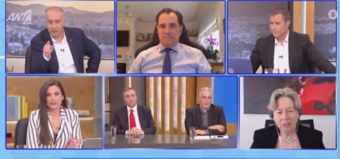 """Η Λινού… """"αδειάζει"""" on air τον Άδωνι Γεωργιάδη για το εμβόλιο της AstraZeneca (vid)"""