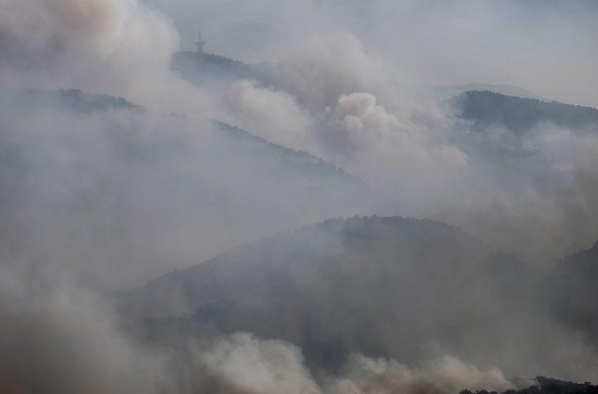 Φωτιά στον Σχίνο Κορινθίας: Βίντεο από drone-Ο καπνός πνίγει την Αττική