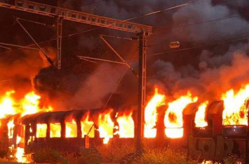 Μεγάλη φωτιά στη Θεσσαλονίκη, σε βαγόνια του ΟΣΕ