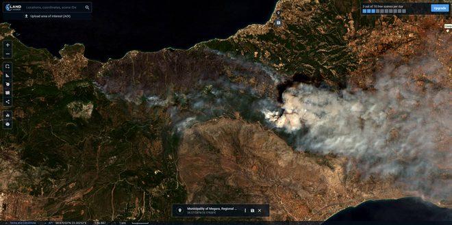 Εικόνες από δορυφόρο: Η τεράστια καταστροφή από την πυρκαγιά- Δάσος το 54% των καμμένων