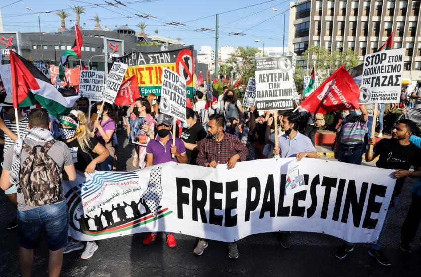 Συγκέντρωση διαμαρτυρίας Παλαιστινίων στην ισραηλινή πρεσβεία – Κλειστή η Λ. Κηφισίας