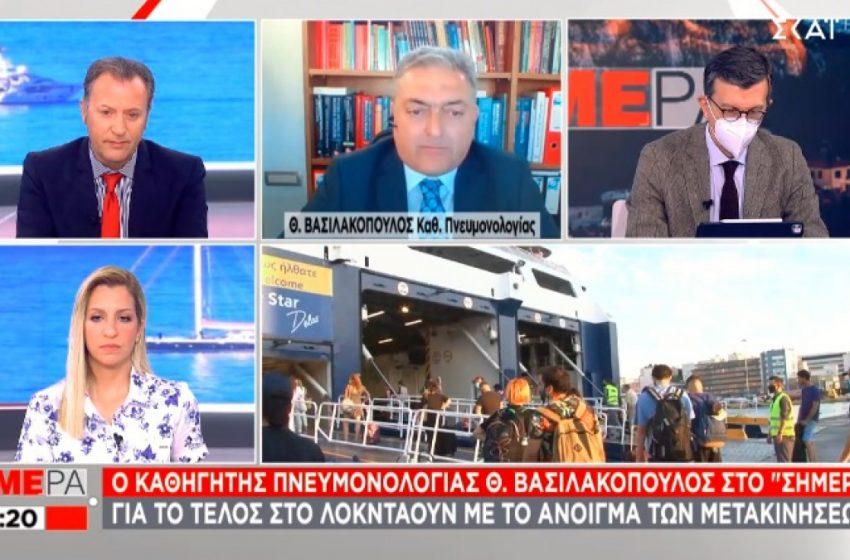 """Βασιλακόπουλος : """"Το αρνητικό self test δεν είναι """"συγχωροχάρτι"""" για να βγάζουμε τη μάσκα"""""""