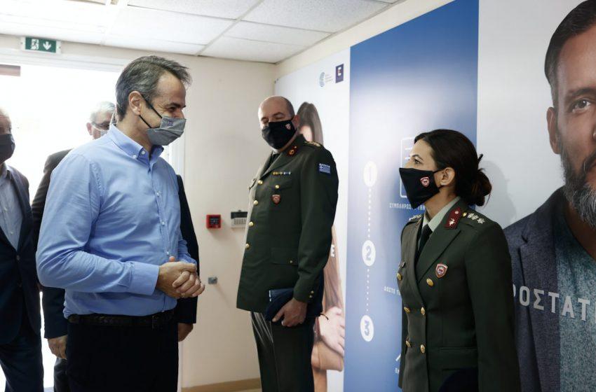 Ιωάννινα: Από το νέο εμβολιαστικό κέντρο ξεκίνησε η επίσκεψη Μητσοτάκη