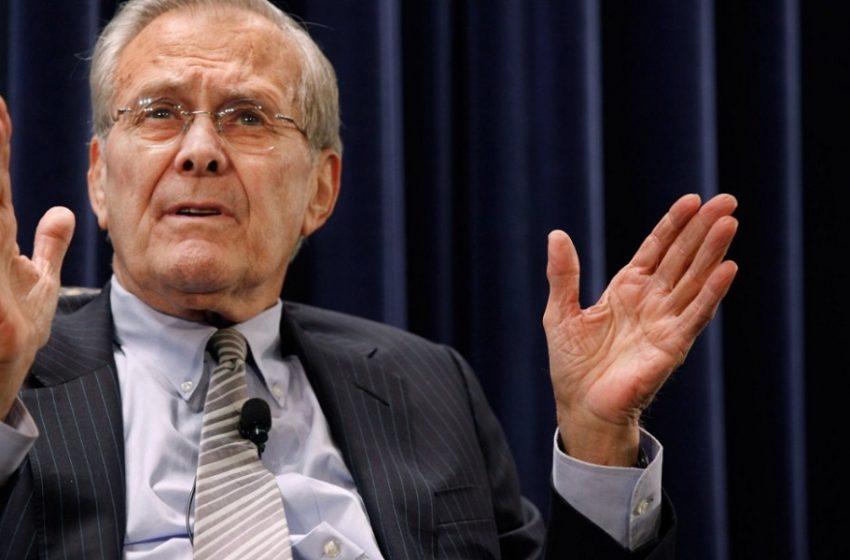 """ΗΠΑ: Πέθανε στα 88 του το """"γεράκι"""" του πολέμου στο Ιράκ Ντόναλντ Ράμσφελντ"""