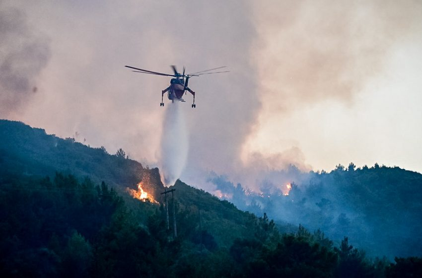 Φωτιά στην Κάρυστο Ευβοίας κοντά σε κατοικημένη περιοχή