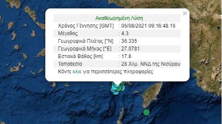 Σεισμός ανάμεσα σε Τήλο και Νίσυρο