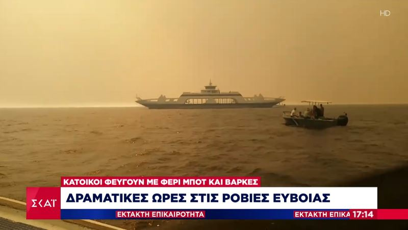 Συγκλονιστικό βίντεο: Την ώρα που οι φλόγες καίνε τις Ροβιές και φθάνουν έως την θάλασσα