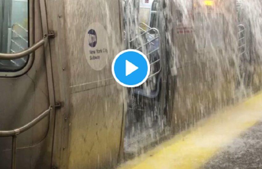 Εικόνες σοκ από τον τυφώνα Άιντα: Καταρράκτες μέσα στο μετρό (vid)