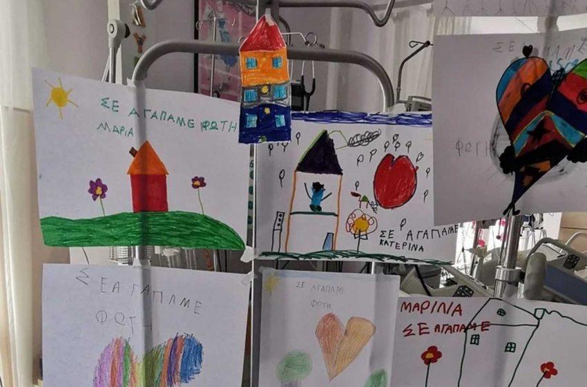 """""""Φώτη γερά"""": Γέμισε ζωγραφιές η ΜΕΘ του 6χρονου που τραυματίστηκε στον αγώνα καρτ"""