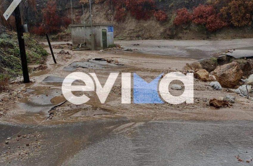 """Η """"Αθηνά"""" χτύπησε τη Βόρεια Εύβοια με πλημμύρες και κατολισθήσεις"""